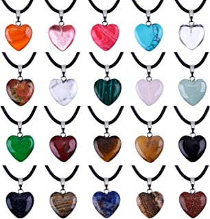 Outus 0.63 Inch Heart Stone Pendants Assorted Color Chakra Beads Crystal Charms with 18 Inch Black Braided Imitation Leath...