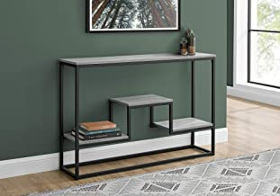 "Monarch Specialties Entryway Hallway Sofa Accent 3 Storage Shelves for Livingroom Long Narrow Console Table, 48"" L, Grey"