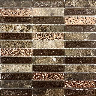 Modket TDH203MO Emperador Marble Blend Metallic Copper Glass Crackle Mosaic Tile Backsplash