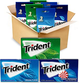 Sponsored Ad - Trident Sugar Free Gum Variety Pack, Spearmint, Perfect Peppermint and Original Flavors, 18 Packs (252 Piec...