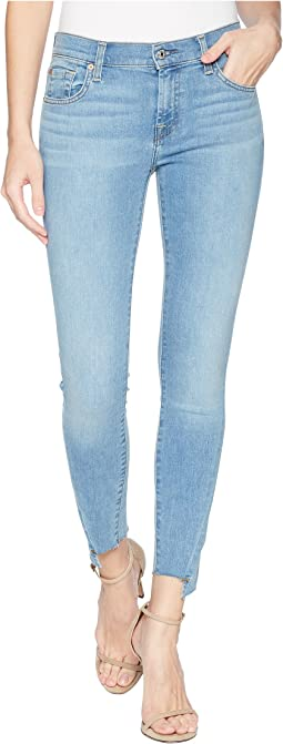 "7 For All Mankind The Ankle Skinny w/ ""V"" Angles Cut Off Hem in Bright Palm"