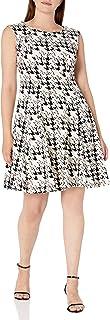 Sandra Darren Women's 1 Pc Extended Shoulder Printed Houndstooth Dress