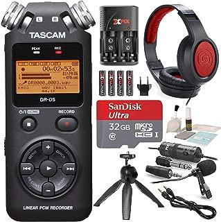 Tascam DR-05 (Version 2) Portable Handheld Digital Audio Recorder (Black) with Platnium accessory bundle