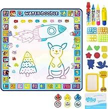 Apsung Large Aqua Doodle Mat, 100 x 100 cm Water Drawing Mat, Mess Free Doodling Coloring Painting Educational Writing Mats,  Kids Toddlers Boys Girls