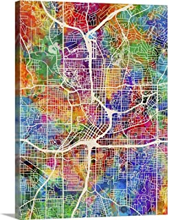 Atlanta Georgia City Map Canvas Wall Art Print, 12