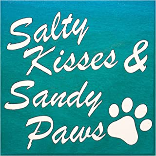 JennyGems Salty Kisses and Sandy Paws | Cute Beach House Sign | Wood Sign | Funny Dog Sign | Coastal Decor | Dog Signs | M...