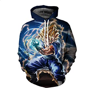 Unisex Outwear Lightweight Sweatshirt Pullover Hoodie Dragon Ball 3D Print with Pocket Long Sleeve Cosplay Costumes,E,5XL