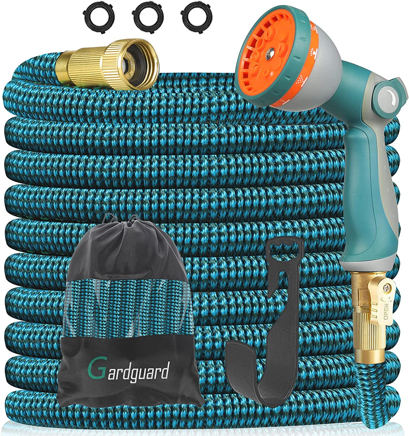 Gardguard 50ft Expandable Garden Hose Water Hose with 10 Function High Pressure Nozzles and 3-layers Latex Lightweight Expanding Wash Hose, 3/4 Connectors Leakproof, Outdoor Yard Watering and Washing