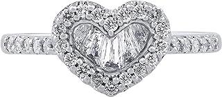 TJD Anillo de Diamante de Medio quilate Oro Blanco Diamante Anillo Natural 10k (j-k Color, claridad i1-i2) en Forma de cor...