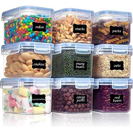 Vtopmart 0.8L boîtes de Conservation Alimentaire sans BPA de Nourriture en Plastique avec Couvercle,Ensemble De 9+24 Étiquettes,pour Céréales,Farine