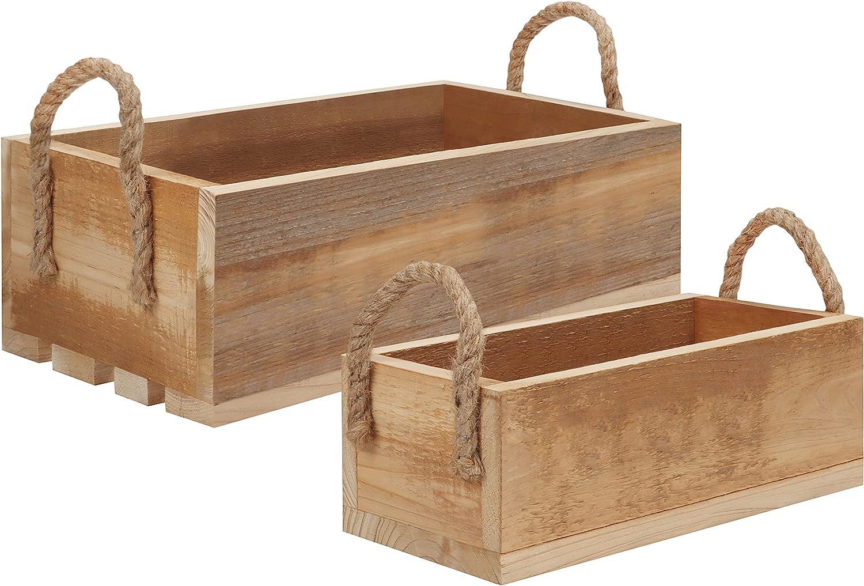 BELLE VOUS Cajas de Madera con Asas de Cuerda (Pack de 2) Caja Madera Abierta Decorativa Apilable – para Usar en Hogar, Dormitorios, Cocina, Baños para Organizar Libros, Juguetes, Ropas y Toallas