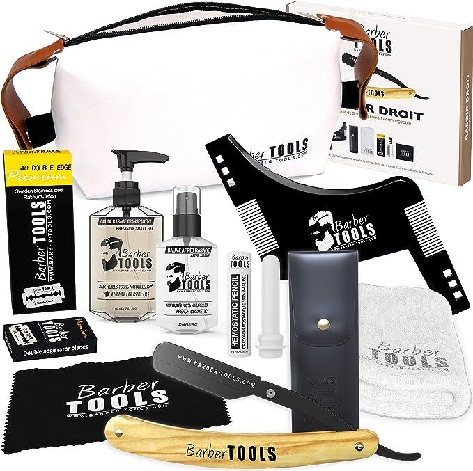 402 opiniones para ✮ BARBER TOOLS ✮ Kit de afeitado- Navaja de afeitar + 40 cuchillas de doble hoja