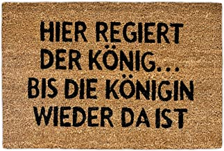 Relaxdays Natural Coconut Fibre Coir Doormat Queen German Welcome Mat w/ Anti-Slip Rubber PVC Underside, Brown