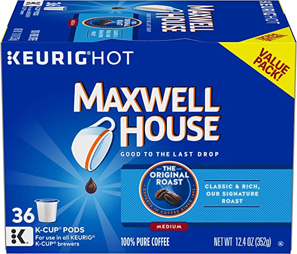 Maxwell House Original Roast Keurig K Cup Coffee Pods 36 Count
