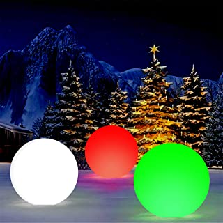 Party Decorations LED Glow Light Up Ball Inflatable Floating 13 Modes 16-Inch with Colors Changing for Garden, Wedding, Lawn, Snow, Xmas, Halloween Decor (1 PCS)