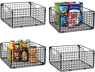 X-cosrack Foldable Cabinet Wall Mount Metal Wire Basket Organizer with Handles Set of 4, Farmhouse Food Storage Mesh Bin for Kitchen Pantry Bathroom Laundry Closet Garage12 x 12 X 6 Patent Pending