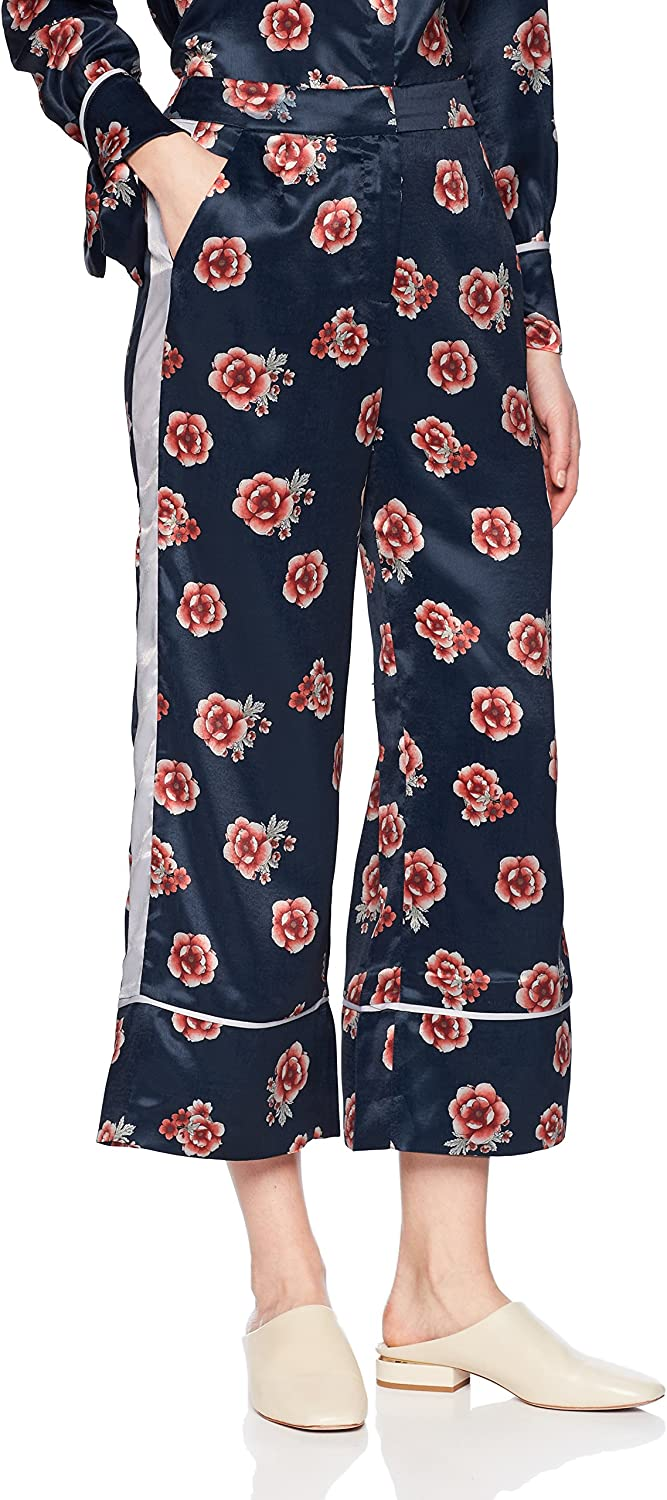 The Fifth Label Womens Jordan Floral Print Silky Wide Leg Cropped Leisure Pant Casual Pants
