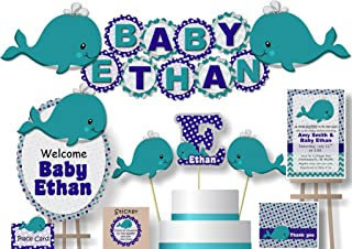 Personalized Teal & Navy Whale Baby Shower or Birthday Party Decorations for Boy - Banner with Optional Cake Topper, Centerpiece, Welcome Sign, Favors or Stickers, Thanks - Handmade in USA - BCPCustom