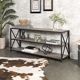 Walker Edison Furniture 2 Shelf Industrial Wood Metal Bookcase Bookshelf Storage, 60 Inch, Grey