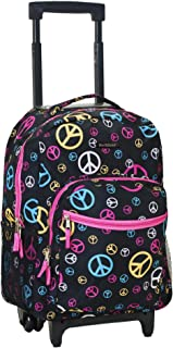 """Rockland 17"""" Rolling Backpack, Peace (Multi) - R01-PEACE"""