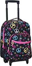 Rockland Luggage 17 Inch Rolling Backpack, Peace, Medium