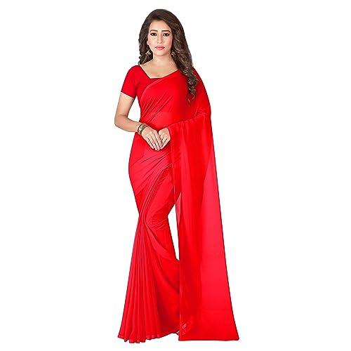 4ba74ec688 Albella Fashion Pure Georgette Fabric Plain Saree With Blouse Piece for  women