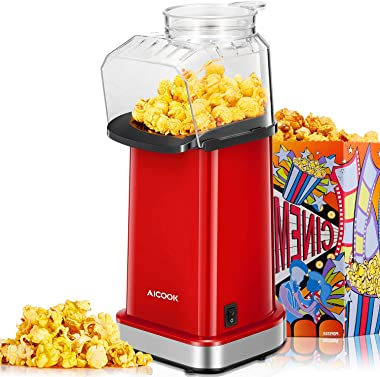 Hot Air Popcorn Popper, 16 Cups, AICOOK 1400W Home Popcorn Maker with Measuring Cup & Removable Lid, 3 Minutes Fast, Healthy