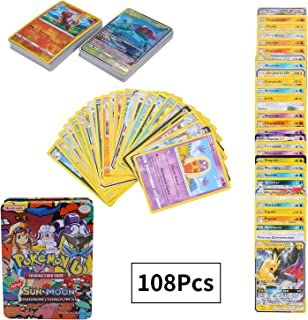 108Pcs Jeu de Cartes Pokemon Cartes, Carte de Pokemon Amusant pour Enfants, Cartes à Collectionner, GX EX Cartes, Sun & Moon Series Burning Shadows