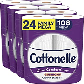 Cottonelle Ultra ComfortCare Toilet Paper with Cushiony CleaningRipples, 24 Family Mega Rolls, Soft Bath Tissue (24 Family...