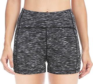"QUEENIEKE 4.5"" Inseam High Waist Tummy Control Yoga Train Running Shorts(S, Space Dye Black)"