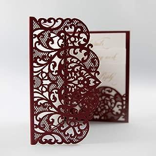 Wedding Invitations with Envelopes Laser Cut Cards Tri Fold Burgundy Marsala Wine Pocket with RSVP Elegant and Lace DIY kit - PRE-PRINTED SAMPLE!