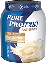 Pure Protein Powder, Whey, High Protein, Low Sugar, Gluten Free, Vanilla Cream, 1.75 lbs