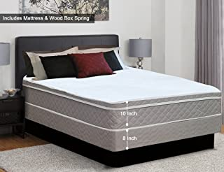 Spinal Solution, 10-Inch Plush Medium Eurotop Pillowtop Innerspring Mattress And Wood Traditional Box