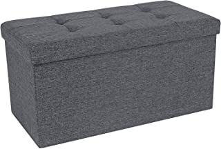 Storage Ottoman Bench, Chest with Lid, Foldable Seat, Bedroom, Hallway, Space-saving, 80L Capacity, Hold up to 660 lb, Padded, Dark Grey