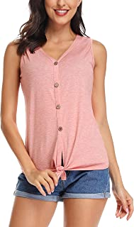 N NORA TWIPS Women's Tie Front Button Down Shirts Summer Sleeveless Tank Tops