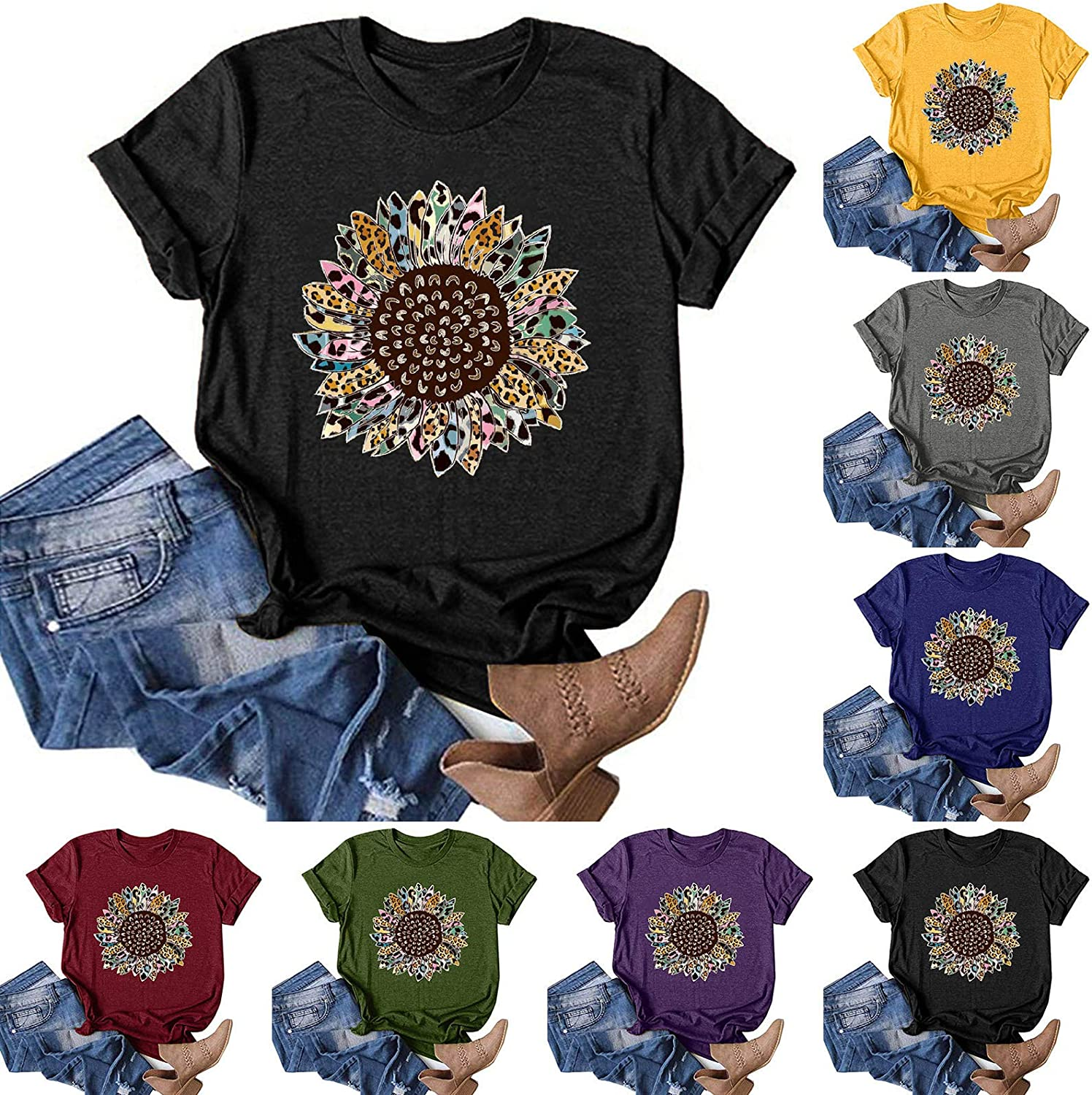AODONG Summer Tops for Women Trendy, Women's Casual Dandelion Printing Tunic Tees Loose Blouses Funny Graphic T-Shirts