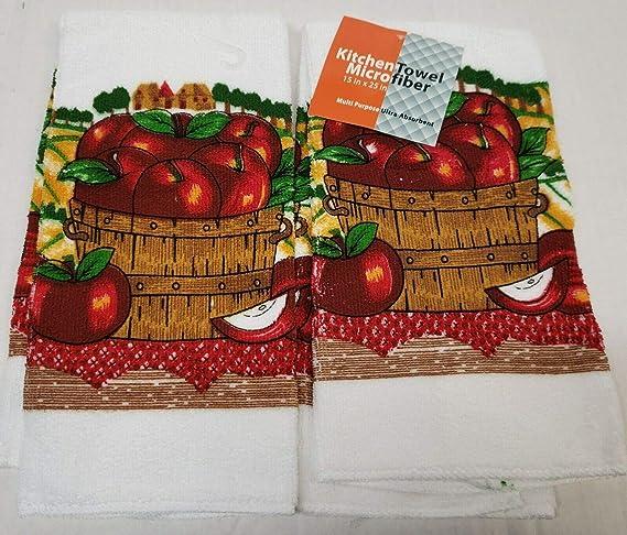 Amazon Com The Raise Towels Set Of 2 Same Kitchen Microfiber Towels 15 X 25 Apples Basket Home Kitchen