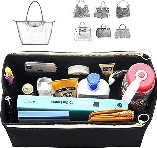 [Fits Long.champ Bags] Felt Tote Organizer (w/Double Zipper Pockets), Bag in Bag, Wool Purse Insert, Customized Tote Organize, Cosmetic Makeup Diaper Handbag