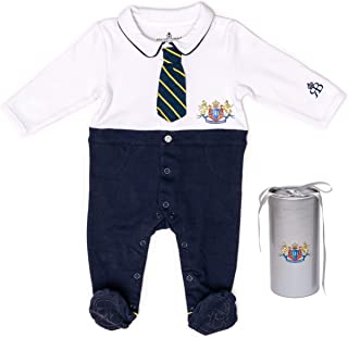 RB Royal Baby Organic Cotton Gloved-Sleeve Footed Overall, Sleep N Play Pajamas, Coverall, Jumpsuit, Footie in Gift Box (Little Man 3-6 M) White Navy