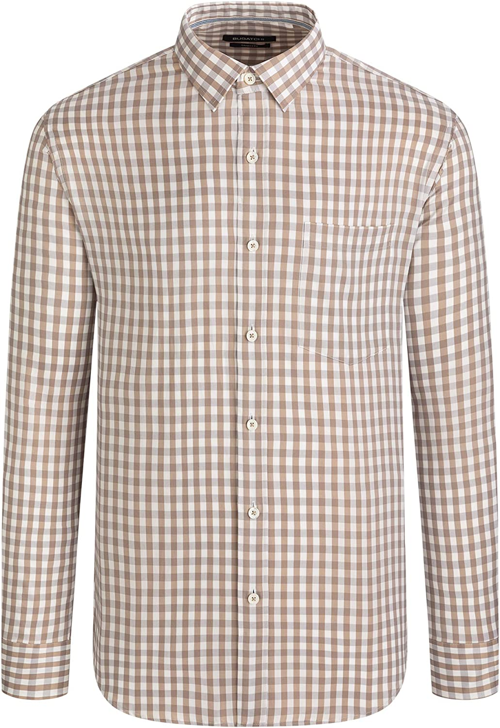 Bugatchi Men's Long Sleeve Small Point Collar Classic Woven
