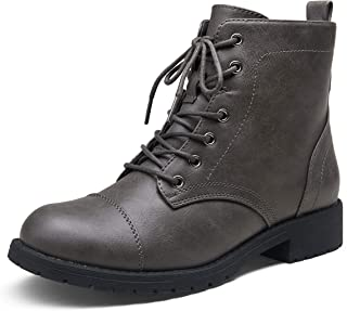 Vepose Women's Ankle Boots Grey Fashion Booties Low Heel Lace up Ankle Boots for Women Size 9(CJY910 Grey 09)