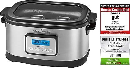ProfiCook Sous Vide Olla cocción lenta y cocina al vacío para cocinar a bajas temperaturas, 8,5 l, 520 W, 8.5 litros, Acero Inoxidable, Gris/Negro