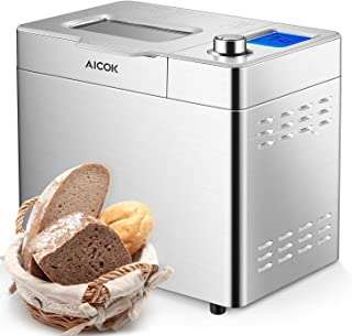 Aicok Stainless Steel Bread Machine, 2LB 25-in-1 Programmable XL Bread Maker with Fruit Nut Dispenser, Nonstick Ceramic Pan, 3 Loaf Sizes 3 Crust Colors, Gluten-Free Setting, Reserve& Keep Warm Set