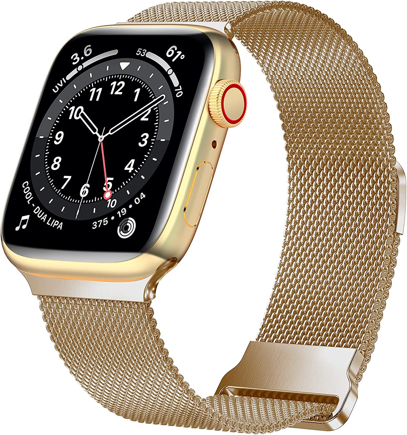 JuQBanke Magnetic Band Compatible with Apple Watch 38mm 40mm, Stainless Steel Mesh Milanese Strap with Adjustable Loop, Metal Wristband for iWatch SE Series 6 5 4 3 2 1 for Women Men, Light Gold