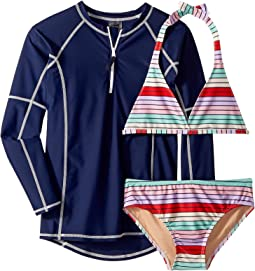 Fun Multi Stripe Bikini & Rashguard Set (Infant/Toddler/Little Kids/Big Kids)