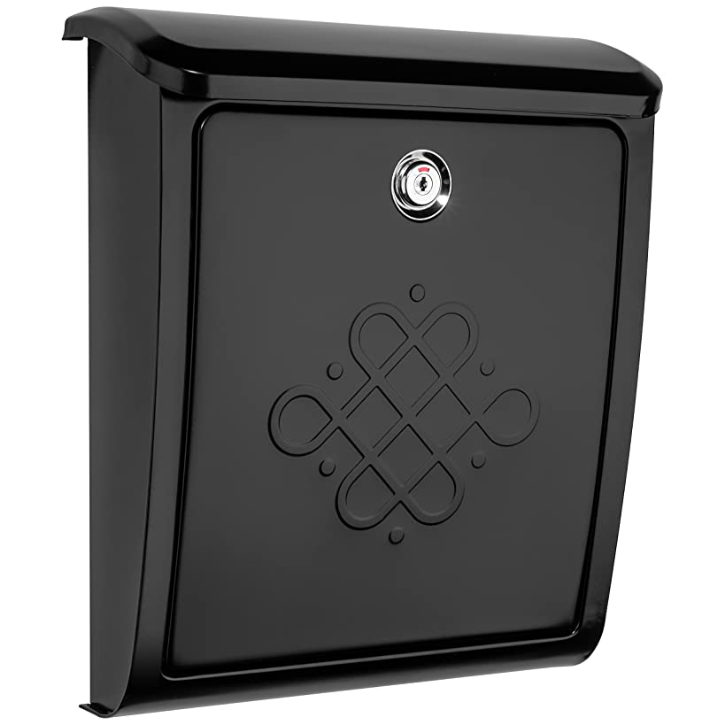 Architectural Mailboxes 2697B Bordeaux Locking Black Wall Mount Mailbox, Small,