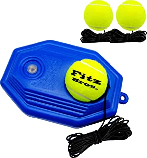 Fitz Bros Tennis Trainer Rebound Ball Solo Training Tool Self Practice Non-Slip Tennis Accessory for Beginners Kids and Adults | 3 Elastic String Balls