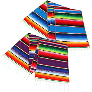 Aneco 2 Pack 14 by 84 Inch Mexican Table Runner Mexican Serape Blanket Cotton Colorful Fringe Table Runners for Mexican Party Wedding Kitchen Outdoor Decorations