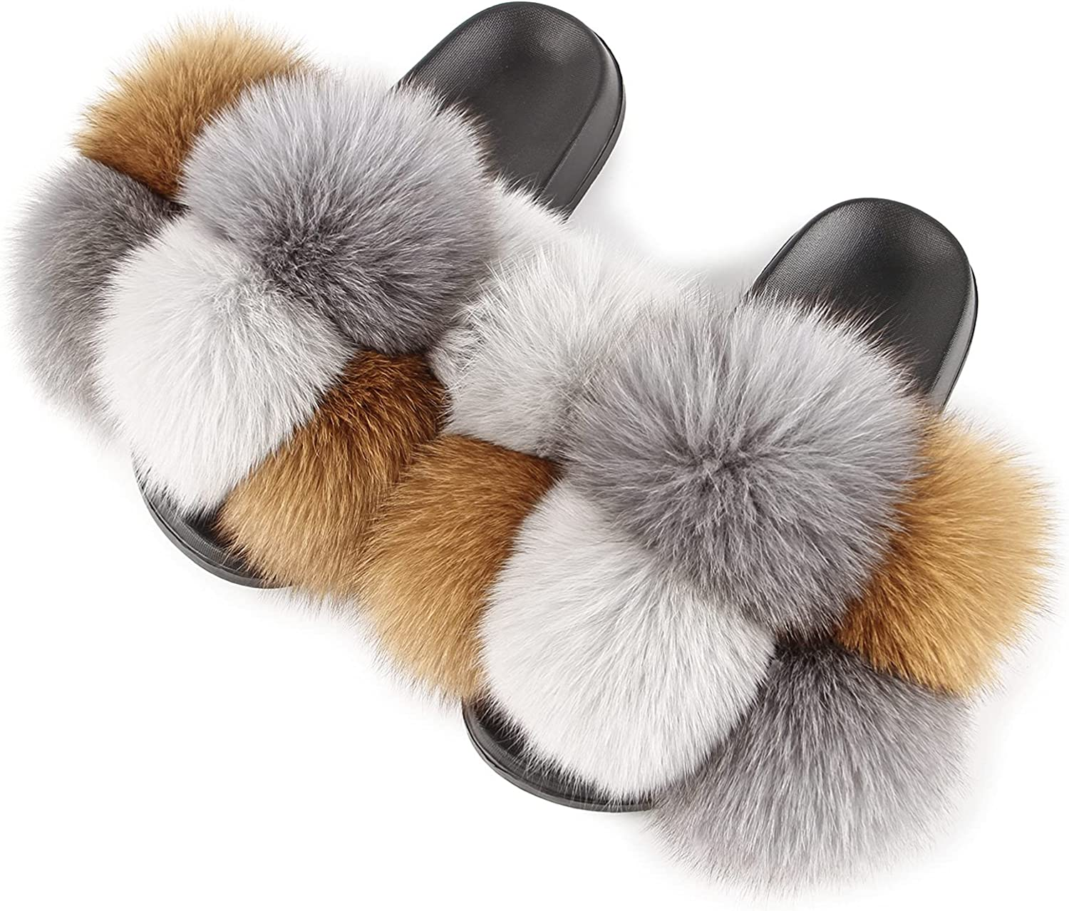 Women's Max 74% OFF Real Fox Challenge the lowest price Furry Fur Cute Open-Toe In Slides Sandals