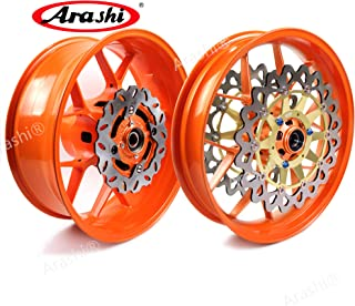 Arashi Front Rear Wheel Rims and Brake Disc Rotors for HONDA CBR1000RR 2006-2016 Motorcycle Accessories CBR 1000 CBR1000 RR 1000RR Repsol Orange 2007 2008 2009 2010 2011 2012 2013 2014 2015